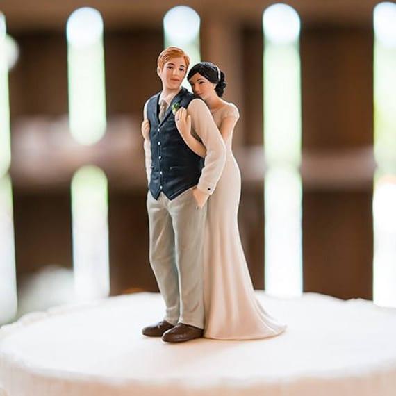 Porcelain Bride and Groom Figurine, Wedding Cake Decorations, Porcelain Wedding Cake Topper Sweet Embrace Bride Groom