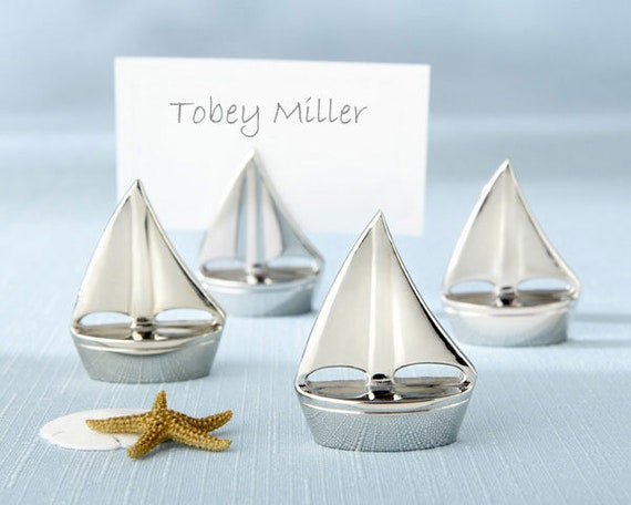 Mini Sailboat Place Card Holders, Sailboat Name Card Holders, Beach Wedding Favors double as Place Card Holders, Seating Card Holder