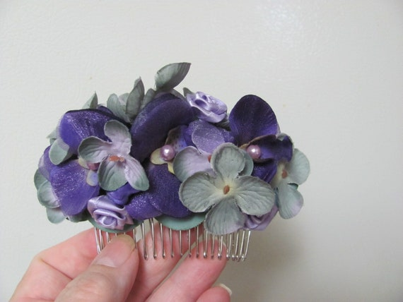 Hair Flowers,  Purple Flowers Hair Comb, Hair Accessory Flower Comb, Flowers for Your Hair, Floral Hair Comb