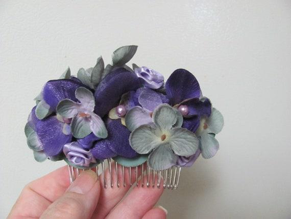 Hair Flowers,  Purple Flowers Hair Comb, Hair Accessory Flower Comb, Flowers for Your Hair, Floral Hair Comb