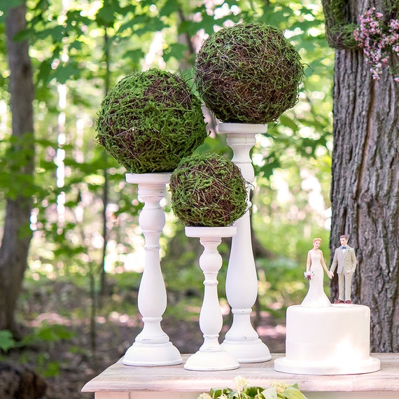 Wedding Decorations, Moss Balls, Kissing Balls, Faux Moss and Wicker Hanging Kissing Ball Pomanders