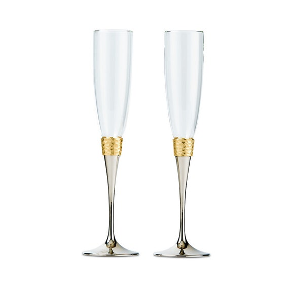 2 Wedding Toasting Flutes for Reception Champagne Toasting Ceremony, Bride and Groom Toasting Glasses, Gold Silver Wedding Champagne Flutes