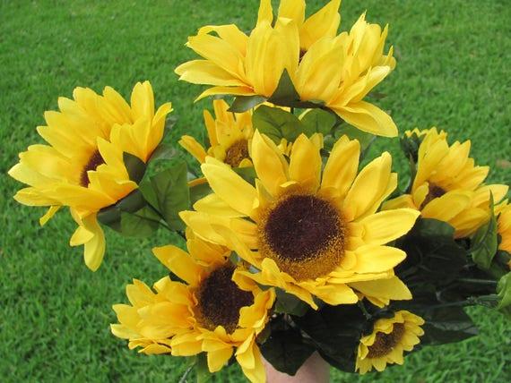 Sunflower Floral Bush, Artificial SunFlowers, Sunflower Wedding Decorations, Sunflowers, Artificial Flowers, Silk Sunflowers, Craft Flowers
