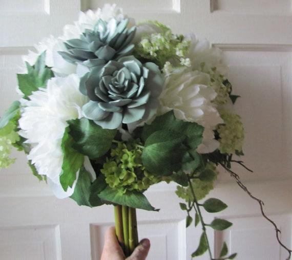 Bridal Bouquet, Succulent Bridal Bouquet, Wedding Bouquet, Bridal Bouquet Peonies and Snowball Flowers