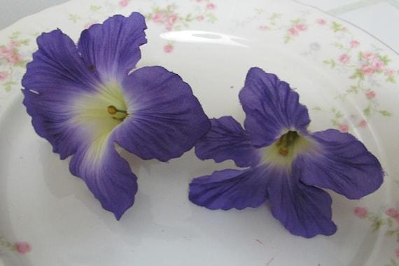 2 Purple Morning Glory Flower Heads, Purple Hair Flowers, Purple Hat Flowers, Craft Flowers, Flower Heads,  Wedding Cake Flowers