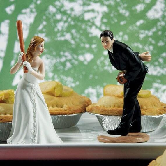 Wedding Cake Topper,Baseball Cake Topper, Baseball Bride, Baseball Groom, Bride Holding Baseball Bat,  Groom Pitching BaseBall