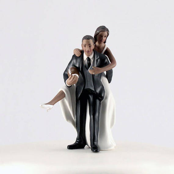 Wedding Cake Topper Playful Football Couple, African American Bride and Groom Football Theme Cake Topper