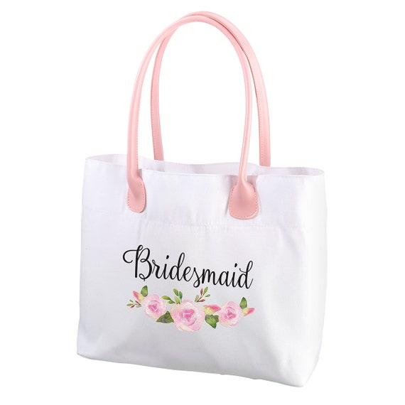 Bridesmaid Shopping Bag, Bridesmaid Luncheon Favor Bags, Bridesmaid Gift Packaging Bag, Maid of Honor Party Favor Tote, Bridal Canvas Bag