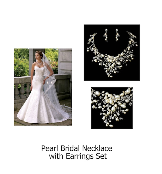 Pearl Bridal Necklace Set, Dramatic Silver Clear Crystal and Ivory Freshwater Pearl Necklace with Earring Set 9784