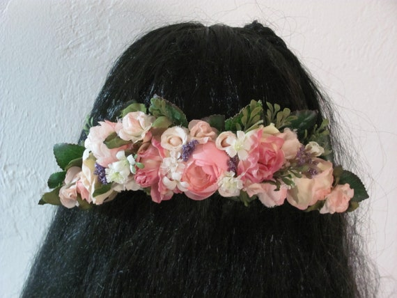 Wedding Hair Flowers, Bridal Hair Flowers, Bridal Comb, Prom Comb, Metal Comb with Flowers, Pink Mixed Flower Hair Comb