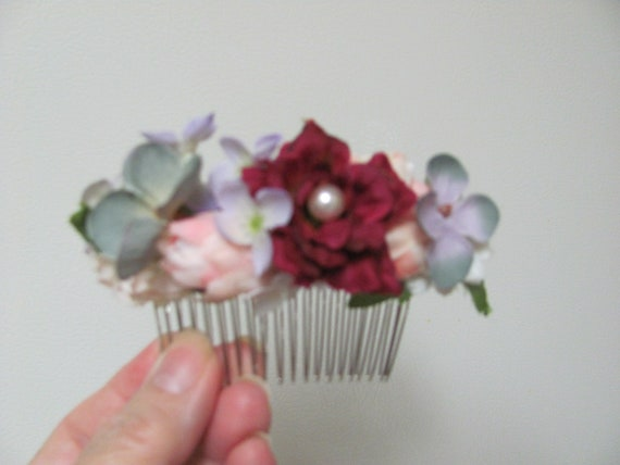 Flower Hair Comb, Hair Flowers, Prom Hair Accessories, Bridal Hair Accessories, Mixed Floral Hair Comb