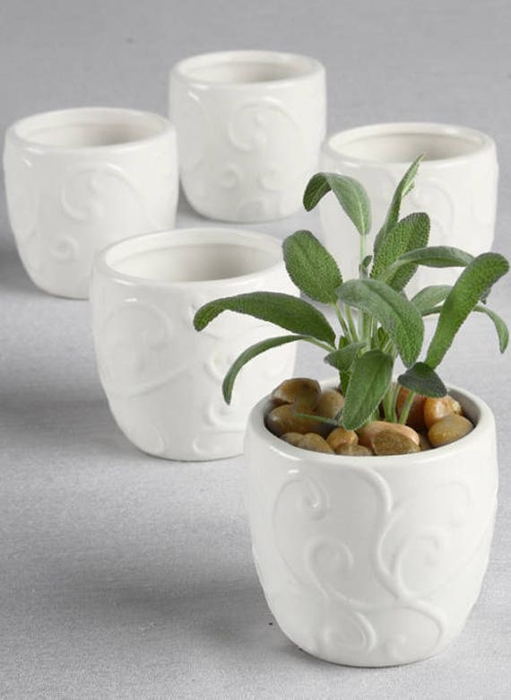 Mini Flower Pots in White or Ivory, Mini Wedding Favor Flower Pots, Mini Flower Pots for Succulents or Floral Gifts