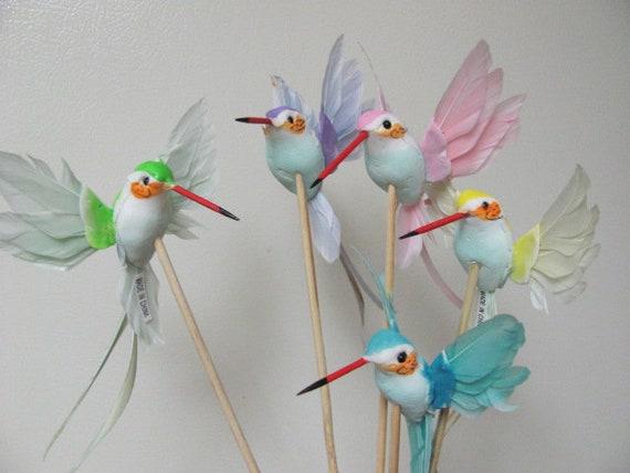 Hummingbirds Floral Picks, Bird Craft Picks, Small Birds for Crafts, Craft Birds, Hummingbird Picks