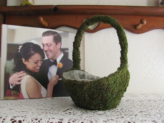 DIY Flower Girl Basket, Mossed covered Basket, Add Your Own Ribbons and Embellishments and Rose Petals Inside