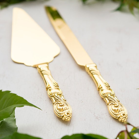 Engraved Wedding Cake Knife and Server, Wedding Cake Serving Set Classic Gold Romance