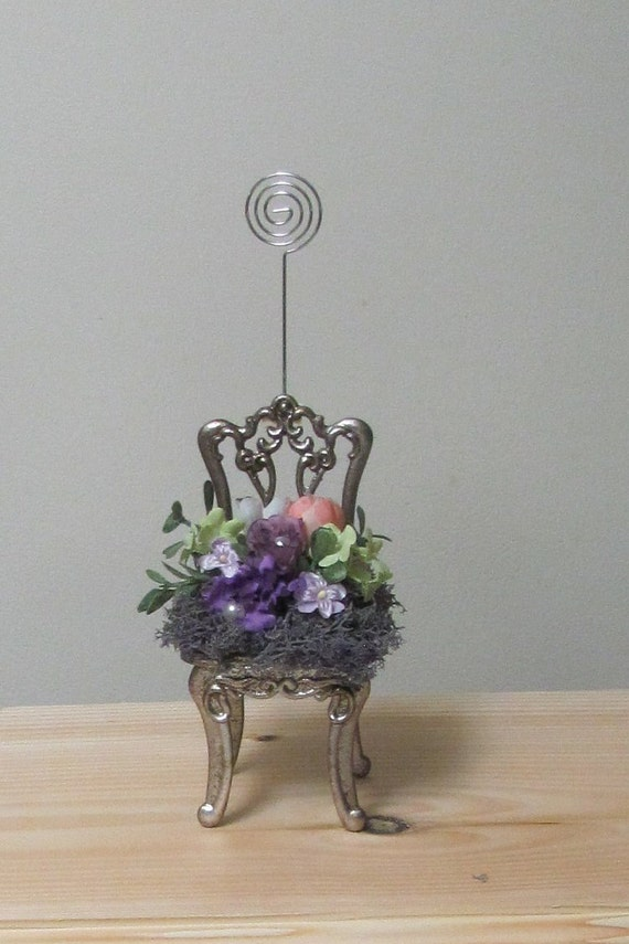 Photo Holder, Sign Holder, Floral Arrangement, Decorated Chair with Holder, Unique Photo Holder, Picture Holder Chair Flowers, Gifts for Her