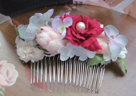 Flower Hair Comb, Hair Flowers, Prom Hair Accessories, Bridal Hair Accessories, Mixed Floral Hair Comb
