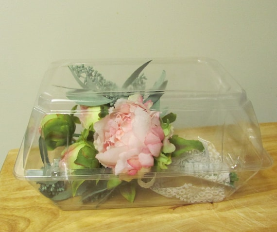 6 Plastic Boxes for Craft Storage, Corsages and Christmas Ornament  Boxes 9 by 6 by 5 inches