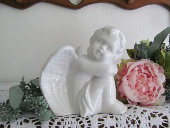 Porcelain Cake Top Angel, Angel Watching Cake Topper, Religious Birthday Cake Topper