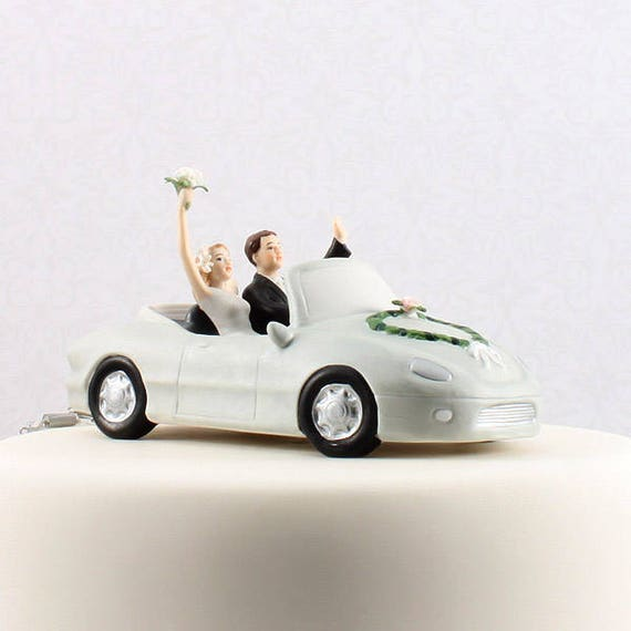 Getaway Wedding Car Cake Topper, Honeymoon Bound Couple In Car, Bride and Groom Wedding Cake Top