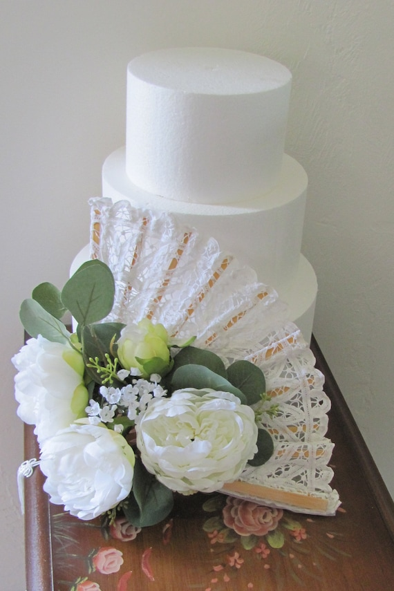 Wedding Cake Table Decorations Hand Held Bridal Bouquet Fan Etsy