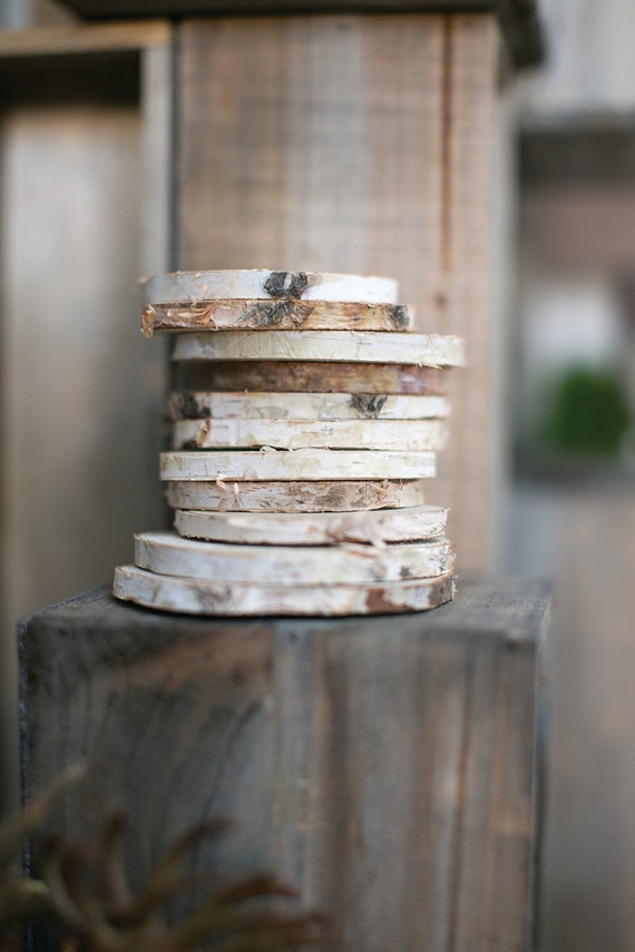 Birch Wood Rounds, 10 Wood Slices, 4 Inch Wood Slices, Craft Wood Rounds, Wood Coaster Size Slices, Craft Supplies, Wedding Supplies