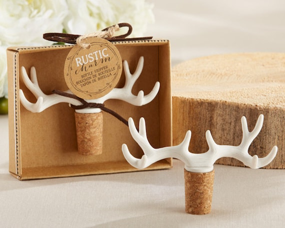 Antler Favors, Bottle Stopper Wedding Favors,  Rustic Wedding Favors,
