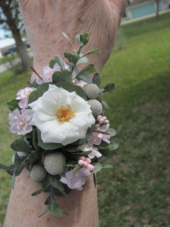 Bracelet Corsage, Preserved Rose and Brunia, Faux Little Hydrangeas,  Pink Off white and Silver Corsage