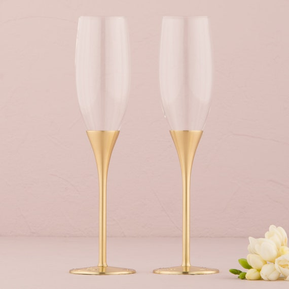 2 Goldtone Wedding Champagne Flutes,  Bride Groom Glasses, Wedding Reception Toasting Glasses, Champagne Toasting Ceremony Flutes