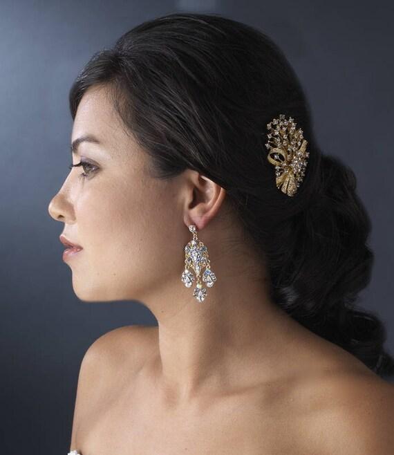 Earrings, Bridal Earrings, Rhinestone Earrings, Gold Tone Earrings, Celebrity Style Gold Clear AB Chandelier Earrings E 943