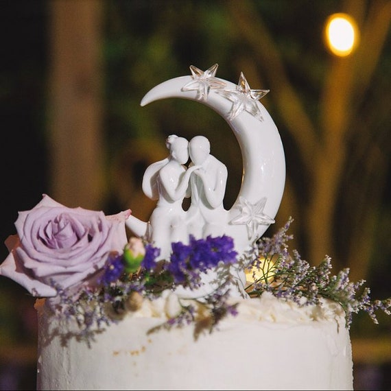 Wedding Cake Top, Romantic Wedding Cake Topper, Bride and Groom Cake Top, Wedding Cake Decorations, Moon and Stars Wedding Cake Top