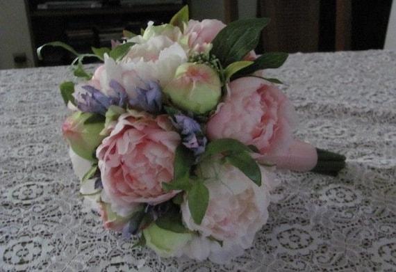 Destination Wedding Bridal Bouquets, Bridal Bouquets, Pink Brides Bouquets, Faux Peonies Bridal Bouquet, Small Bridal Bouquets