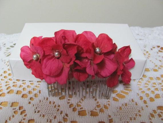 Pink Hydrangea Flower Hair Comb, Floral Hair Comb, Hair Flowers, Hair Accessory