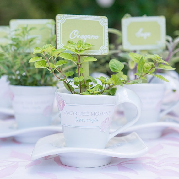 4 Porcelain Wedding Favors, Favor Containers, Modern White Cups and Saucer, Create Bombonieres Fill with Your Own Goodies, Vase for Flowers