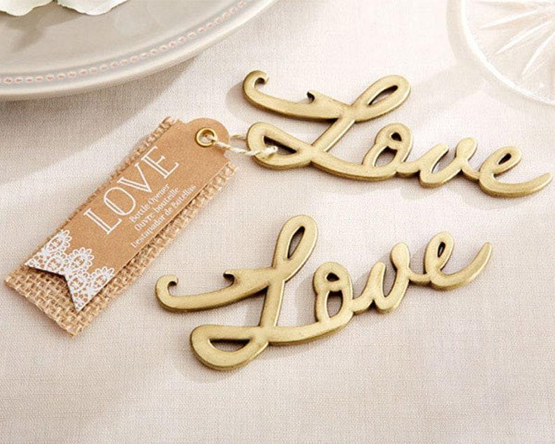50 Antique Gold Design Love Bottle Opener Favors Bridal Shower Wedding Favor
