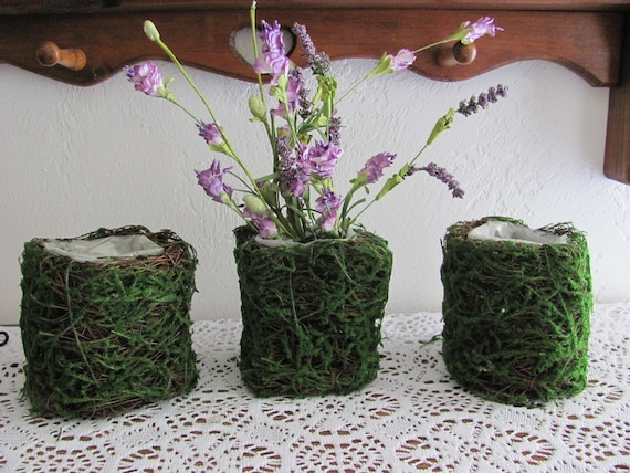 Small Planters, Woodland Wedding Planters, Flower Holders, Party Containers, Faux Moss Planters, Party Favor Flower Holders