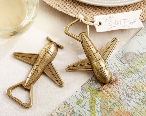 Let the Adventure Begin Airplane Favor, Party Favors, Reception Favors, Wedding Favors, Airplane Party Favor, Bottle Opener Favor