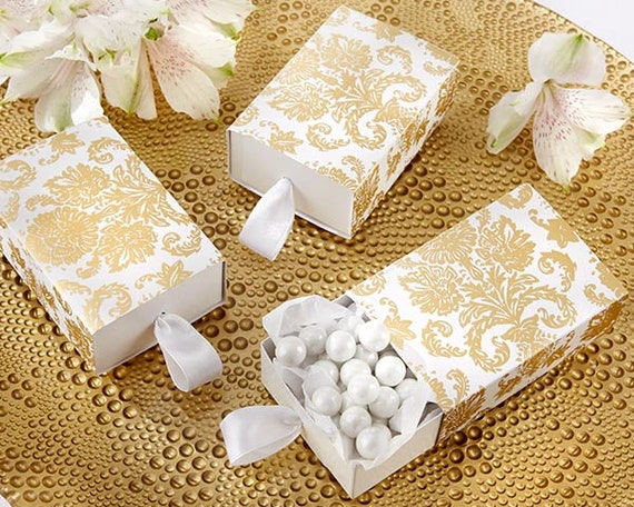 Wedding Favor Boxes, Bridal Shower Favor Boxes, Party Favor Box, Draw Style Favor Boxes, Candy Favor Boxes, Gold Damask Favor Box