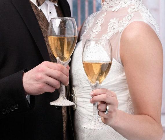 Wedding Reception Glasses, Reception Tableware Bride Groom, Bride Groom Toasting Ceremony Glasses, Toasting Flutes, Birch Toasting Glasses