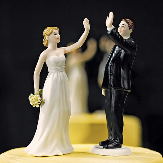 Fun Wedding Cake Topper, High Five Bride and Groom Cake Top, Wedding Cake Top, Cake Topper