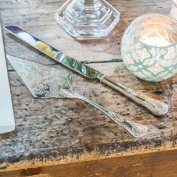 Engraved Wedding Cake Knife with Ornate Server Set, Vintage Inspired Wedding Cake Server Set