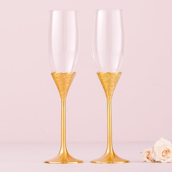 Golden Champagne Glasses, Champagne Ceremony Toasting Glasses for Bride and Groom, Champagne Reception Toasting Flutes