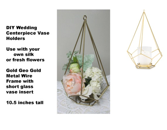 8 DIY Geo Modern Wedding Centerpieces, Gold Wedding Centerpiece Wire Frame with Glass Vase Insert