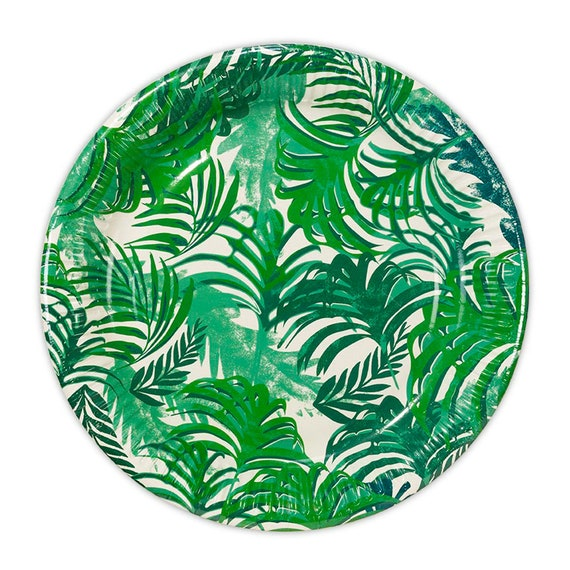 24 Tropical Paper Plates, Tropical Party Paper Plates, Tropical Leaves Round Paper Plates, Wedding Paper Plates