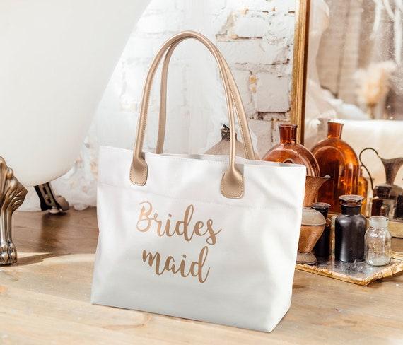 Gift Bags, Bridesmaids Favor Bags,Cream Vinyl Bag, Bridal Party Gift Packaging, Party Favor Tote Bag, Bridesmaid Shopping Bag