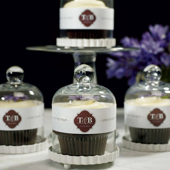 Personalized Favor Wraps For Bell Jars, Personalized Wedding Favor Wraps