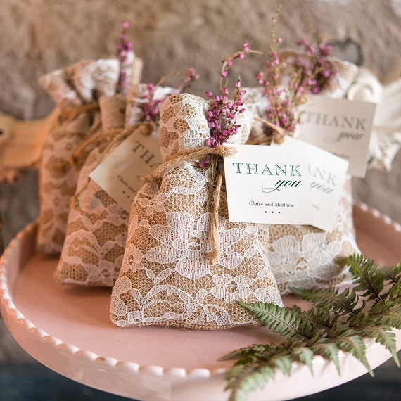 Rustic Weddign Favor Bags, Bridal Shower Favor Bags, Shabby Chic Burlap And Lace Drawstring Favor Bag