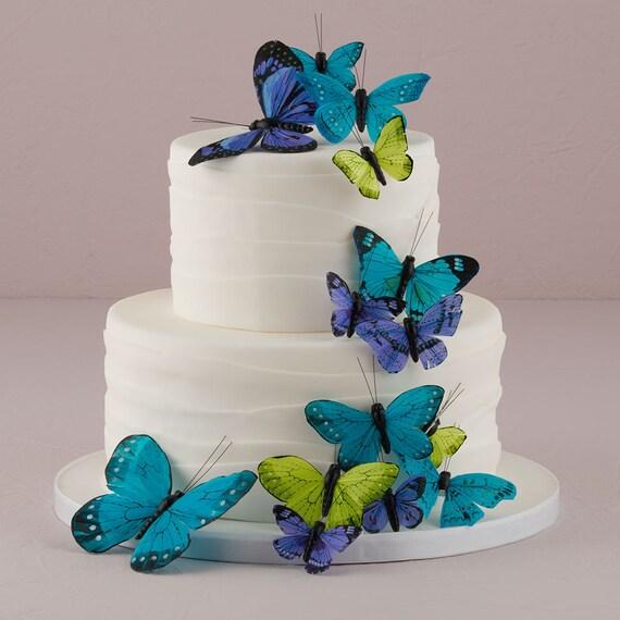 Craft Butterflies, 24 Feather Butterflies, Wedding Cake Butterflies, Color Choices Purples, Blue, Pink, Natural Elegance, Garden Green