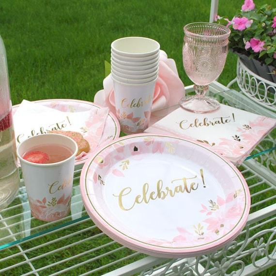 Bridal Shower Tableware Set, Paper Party Supplies, Paper Cups, Paper Napkins, Paper Plates