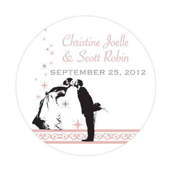 Wedding Favor Stickers, Vintage Hollywood Small Sticker, Favor Stickers